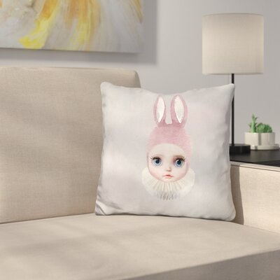 Sq Mis Lily Rabbit Face Throw Pillow