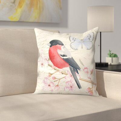 Bullfinch Peach Blossom Throw Pillow Size: 16 x 16