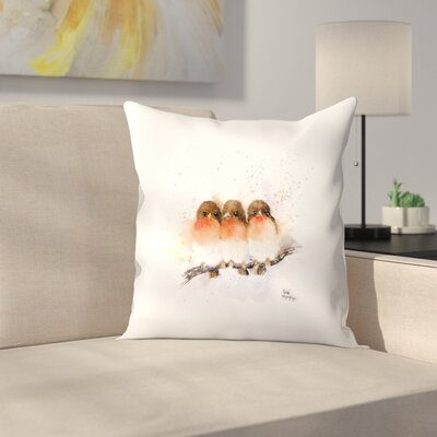 Cute Robins Throw Pillow Size: 16 x 16