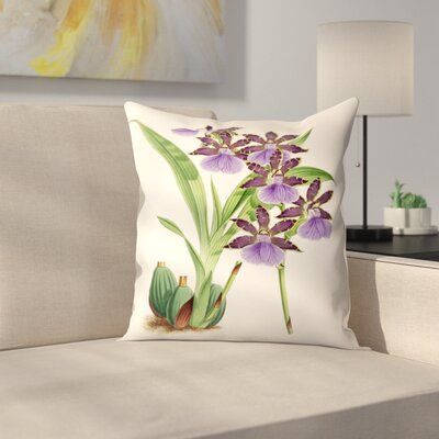 Fitch Orchid Zygopetalum Clayii Throw Pillow Size: 16 x 16