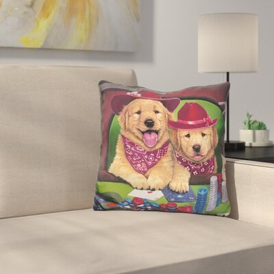 Poker Dogs Throw Pillow