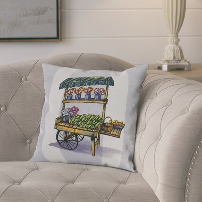 Laymon Veggie Cart Throw Pillow Color: Light Blue, Size: 18 x 18