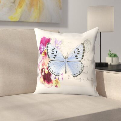 Pansy Butterfly Throw Pillow Size: 16 x 16