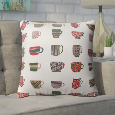 Cosner Tea Cups Indoor/Outdoor Throw Pillow Size: 16 H x 16 W