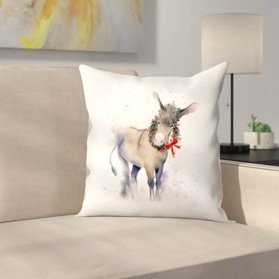Donkey Wreath Throw Pillow Size: 14 x 14