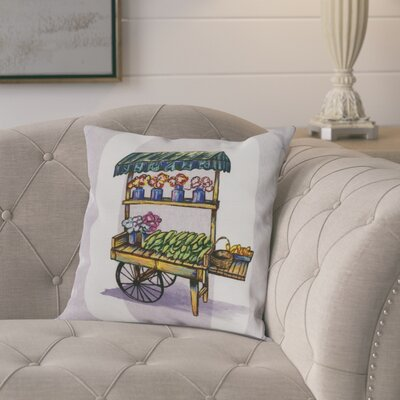 Laymon Veggie Cart Throw Pillow Color: Light Purple, Size: 18 x 18