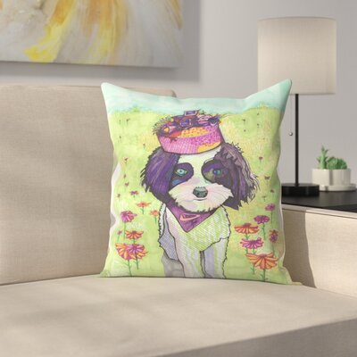 Dog with Pillbox Throw Pillow Size: 14 x 14