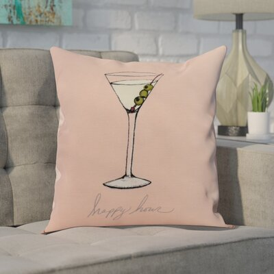 Carmack Martini Glass Throw Pillow Color: Coral, Size: 18 x 18