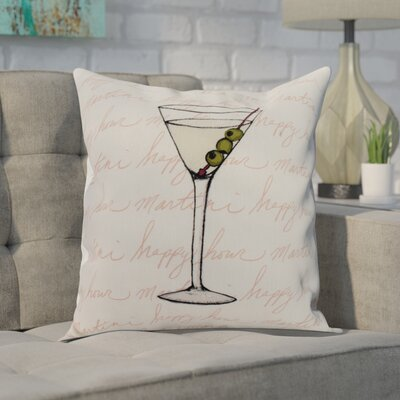 Carmack Martini Glass Throw Pillow Color: Light Green, Size: 16 x 16