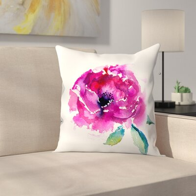 Pink Peony Throw Pillow Size: 18 x 18
