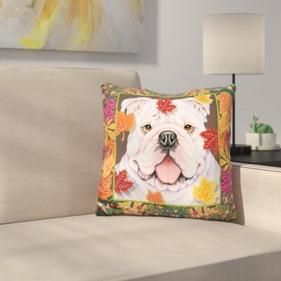 Autumn Bulldog Throw Pillow
