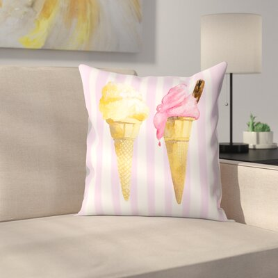 2 Ice Creams Throw Pillow Size: 16 x 16