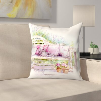 Cat On A Bench Throw Pillow Size: 18 x 18