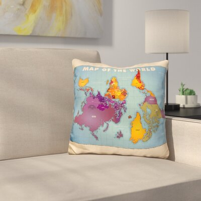 Upside Down Map of the World Throw Pillow
