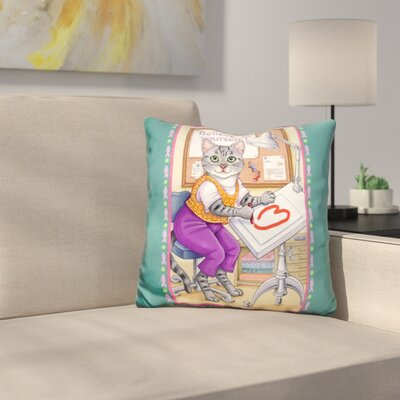 Artist Cat Throw Pillow