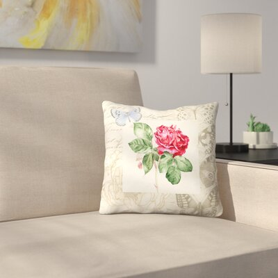 Red Rose with Butterflies Throw Pillow Size: 14 x 14