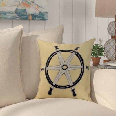 Harriet Ship Wheel Throw Pillow Color: Yellow, Size: 18 x 18