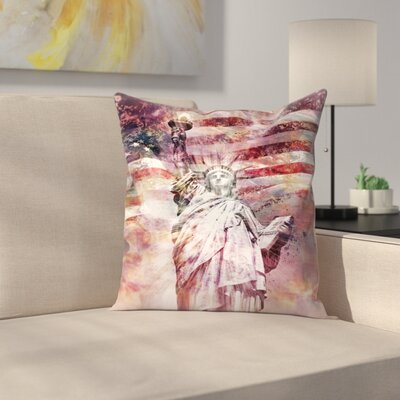 Modern Art Statue of Liberty Throw Pillow Size: 18 x 18, Color: Red