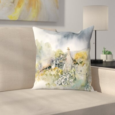 Ruined Cottage Throw Pillow Size: 20 x 20