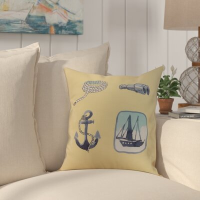 Harriet Sea Tools Throw Pillow Color: Yellow, Size: 16 x 16