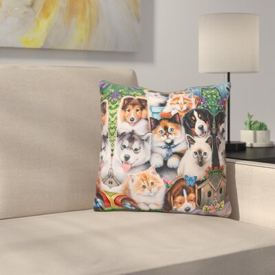 Kittens and Puppies in the Garden Throw Pillow