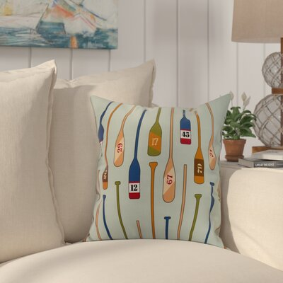 Bryson Oar Numbers Throw Pillow Color: Aqua, Size: 18 x 18