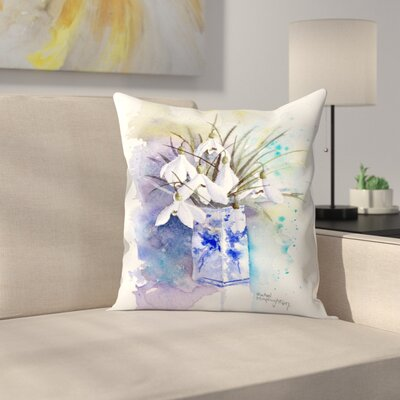 Snowdrops in Blue and White Vase Throw Pillow Size: 18 x 18