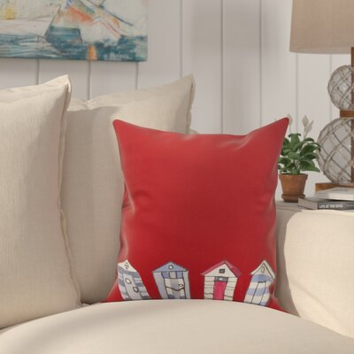 Bryson Beach Huts Print Throw Pillow Color: Red, Size: 26 x 26