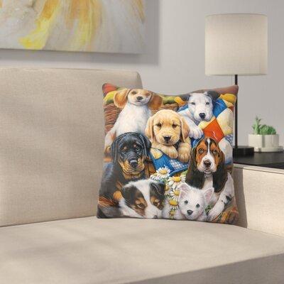 Country Bumpkin Puppies Throw Pillow