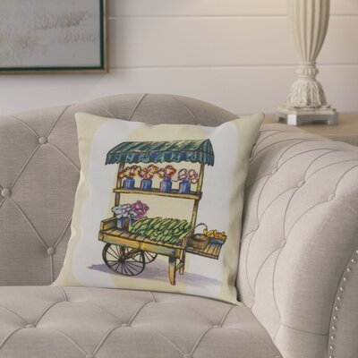 Laymon Veggie Cart Throw Pillow Color: Yellow, Size: 18 x 18