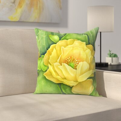 Cactus Flower Throw Pillow Size: 16 x 16