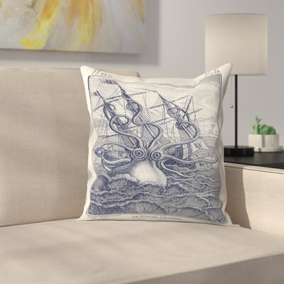 Marine Kraken Throw Pillow Size: 16 x 16