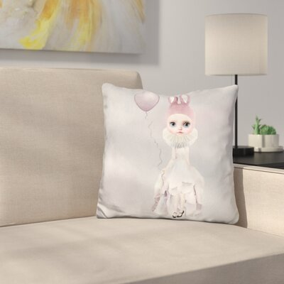 Sq Miss Lily Rabbit Balloon Throw Pillow