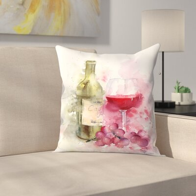 Red Wine and Grapes Throw Pillow Size: 16 x 16