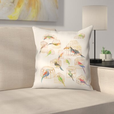 Architectural Aviary Throw Pillow Size: 16 x 16