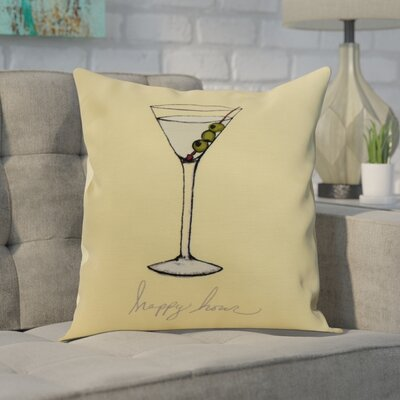 Carmack Martini Glass Throw Pillow Color: Yellow, Size: 18 x 18