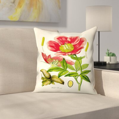 Red Peony Throw Pillow Size: 16 x 16