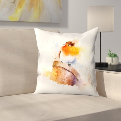 Splashy Robin on Plantpot Throw Pillow Size: 14 x 14