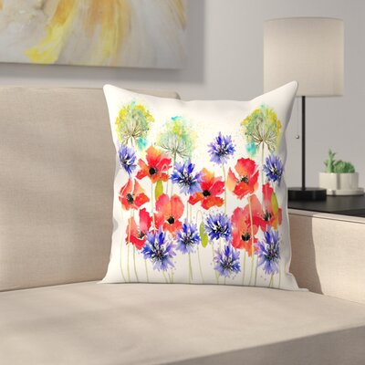 Poppies Parsley and Cornflowers Throw Pillow Size: 18 x 18