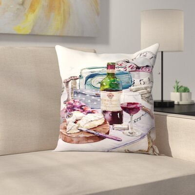 Cheese & Wine Throw Pillow Size: 14 x 14