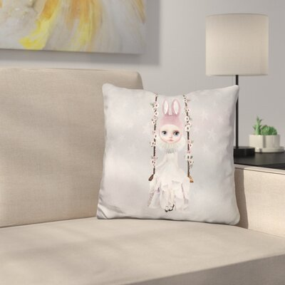Sq Miss Lily Rabbit on Swing Throw Pillow