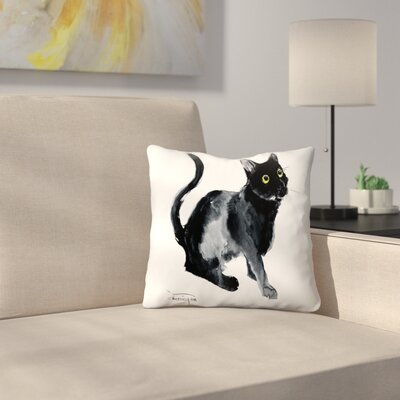 Black Cat Throw Pillow Size: 14 x 14