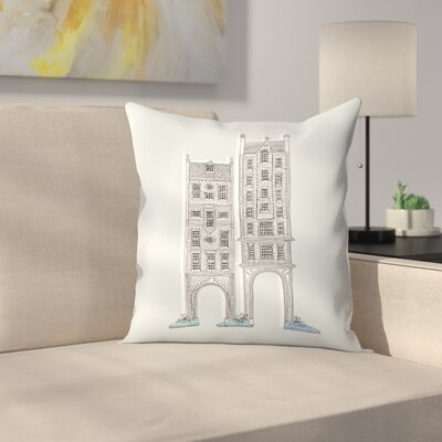 Friendly Buildings 1 Throw Pillow Size: 18 x 18