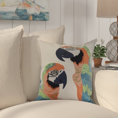 Shetland Macaw Throw Pillow Color: Orange, Size: 18 x 18