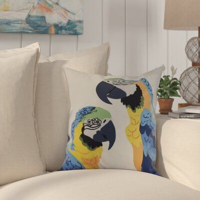 Shetland Macaw Throw Pillow Color: Mid Blue, Size: 18 x 18