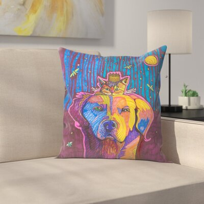 Dog and Kitten Bruce and Sissy Throw Pillow Size: 16 x 16
