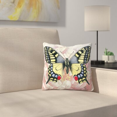 Swallowtail Peach Peony Throw Pillow Size: 18 x 18