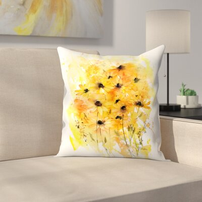 Washy Rudbeckia Throw Pillow Size: 18 x 18