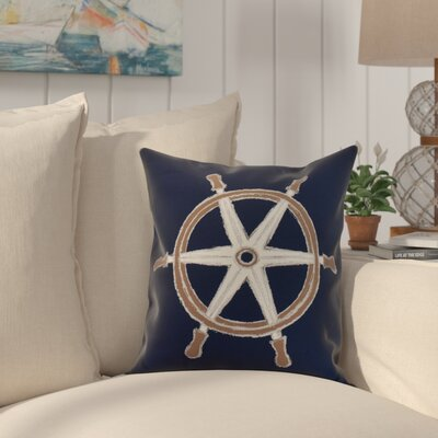 Harriet Ship Wheel Throw Pillow Color: Navy, Size: 26 x 26