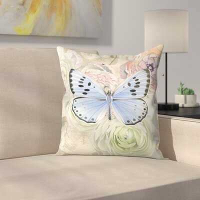 Blue Butterfly and Ranunculus Throw Pillow Size: 16 x 16